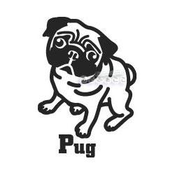 犬ステッカー パグ Sサイズ ハッピードッグステッカー