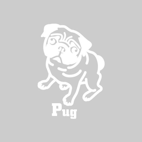 犬ステッカー パグ Mサイズ  ハッピードッグステッカー