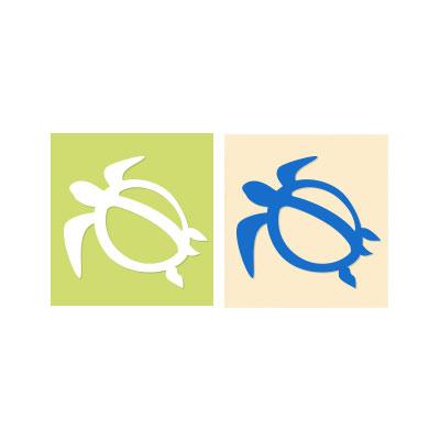 【ハワイアンカメ・ホヌステッカー】ホヌ(S・ヨコ)※絵柄抜きタイプ ホワイト・ブルー