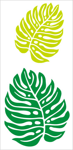 【ハワイアン ステッカー】モンステラ(M)※絵柄抜きタイプ2枚セット グリーン&ライトグリーン M-3