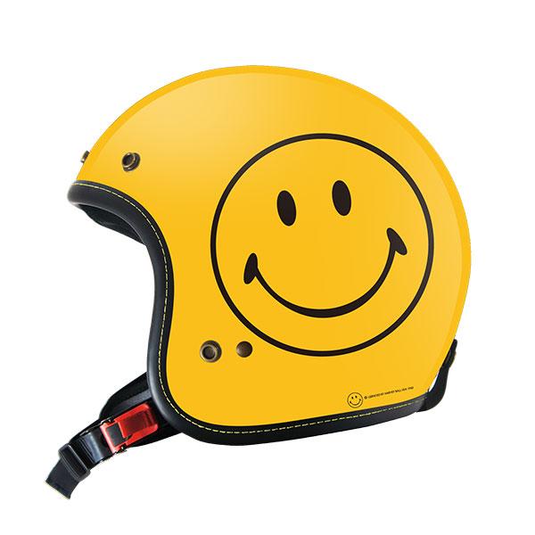 【数量限定】SmileyFace限定 オリジナル ジェット ヘルメット YELLOW スマイリー ステッカーのおまけ付き!