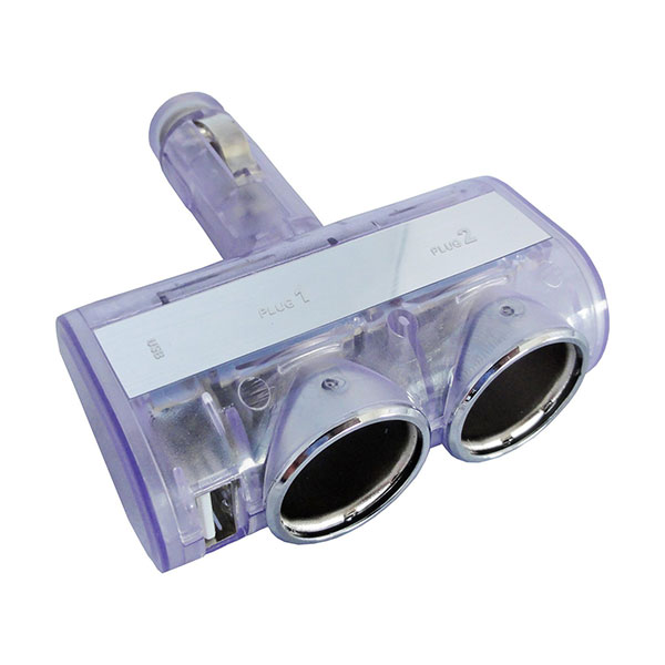 自動車用 シガーソケット 2連 ブルー発光 USB 1ポート 最大2.4A/5V 12V/24V車 DL-30