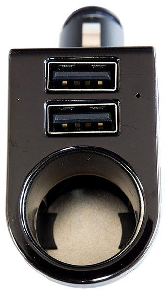 自動車用  シガーソケット 1ソケット + USB 2ポート ブラック 最大出力3.6A DL-62