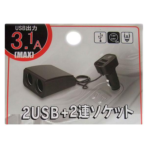 自動車用 シガーソケット USB 2ポート 2連ソケット Max出力3.1A 12/24V車対応 DL-44