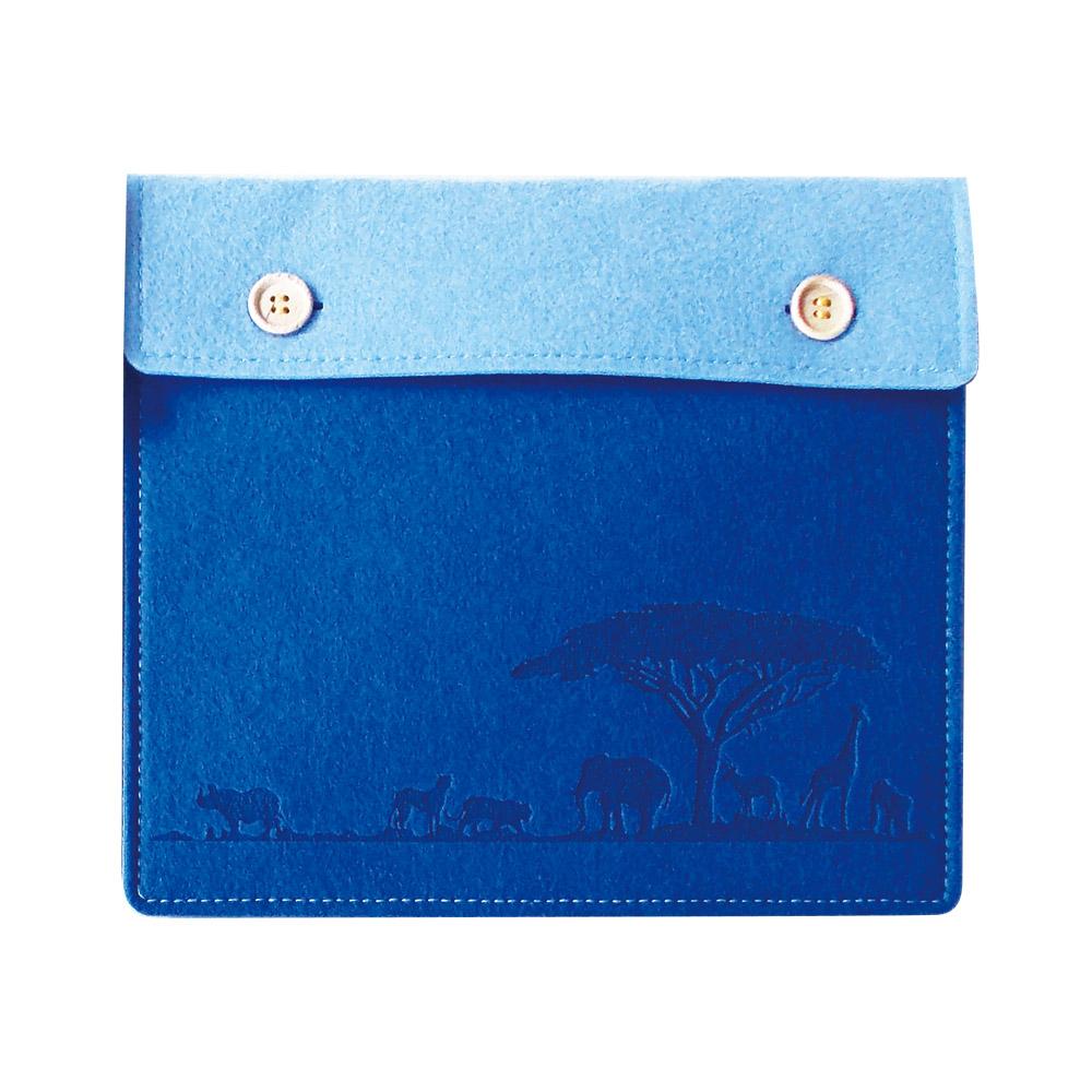 ○軽くて、やわらか○ フェルト製 タブレットケース ブルー Mサイズ