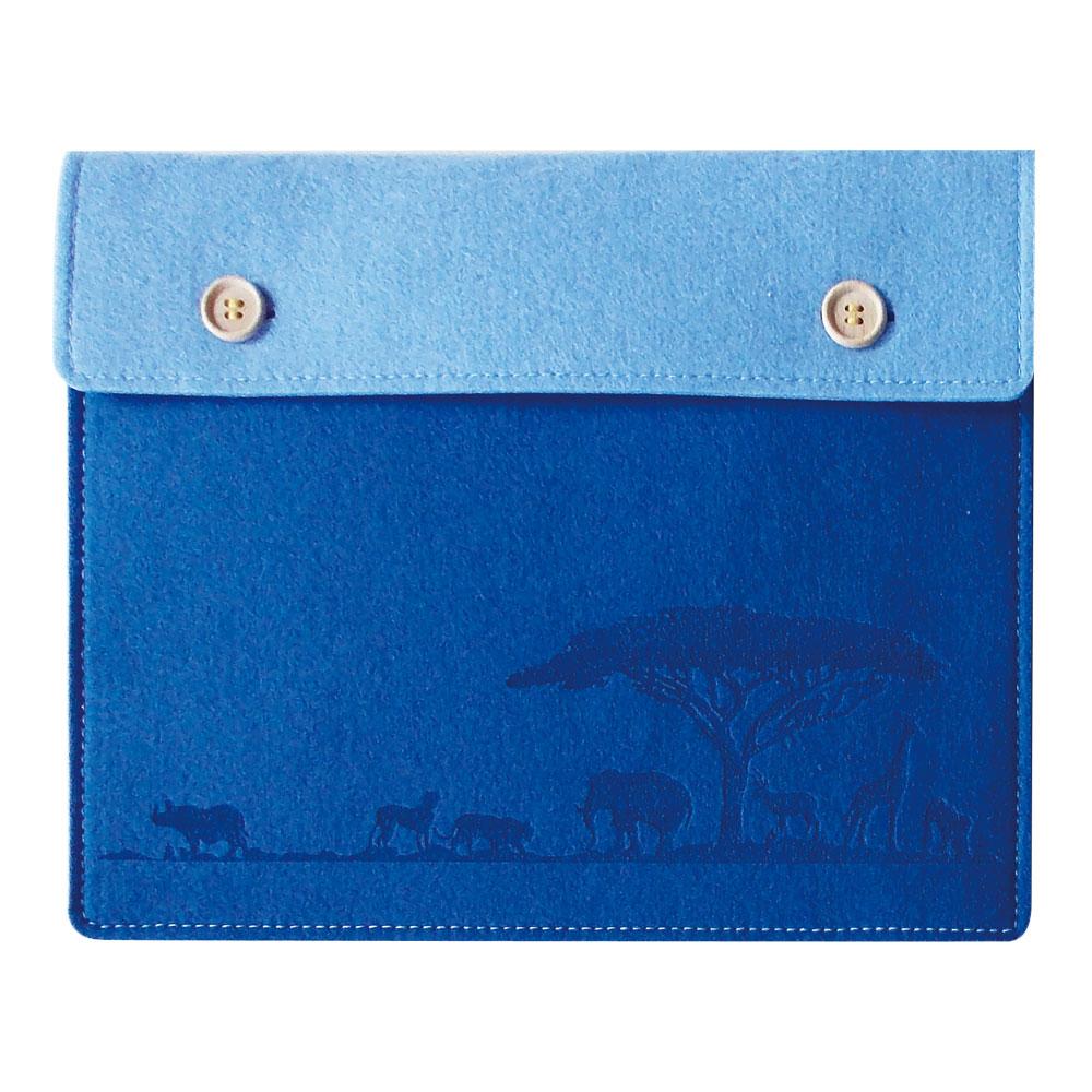 ○軽くて、やわらか○ フェルト製 タブレットケース ブルー Lサイズ