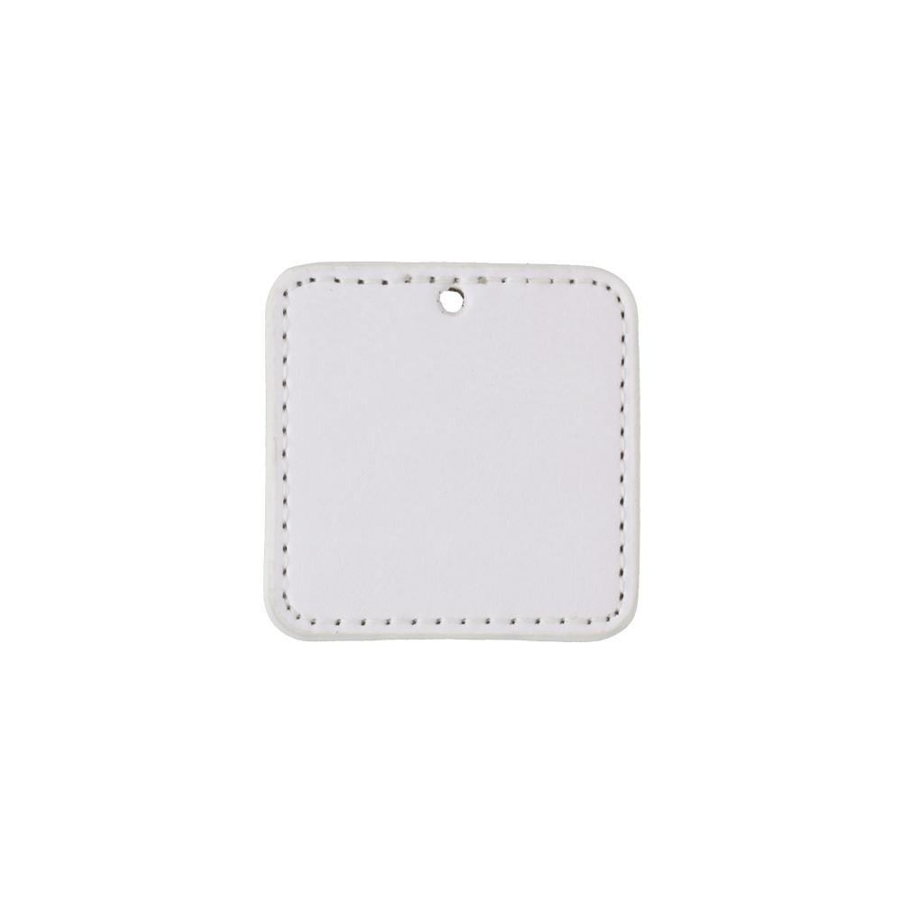 PU製 合皮レザー プレートチャーム 角型 ミラー付き ホワイト 無地
