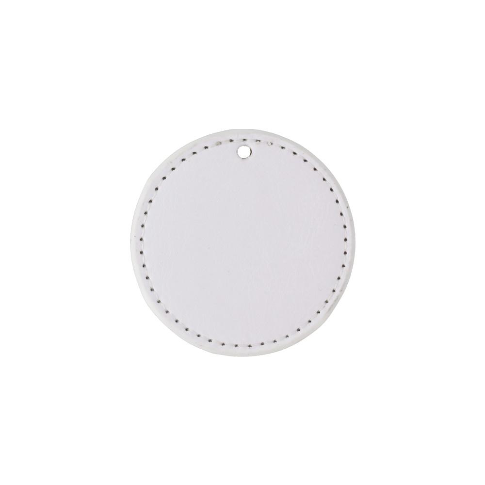PU製 合皮レザー プレートチャーム 丸型 ミラー付き ホワイト 無地