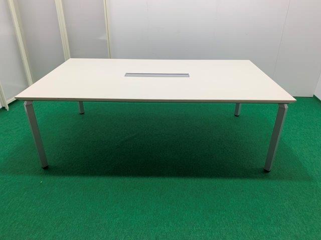 ナイキ製 ミーティングテーブル(ウェイクシリーズ/WKT-2112KH) ホワイト W2100 配線ボックス付