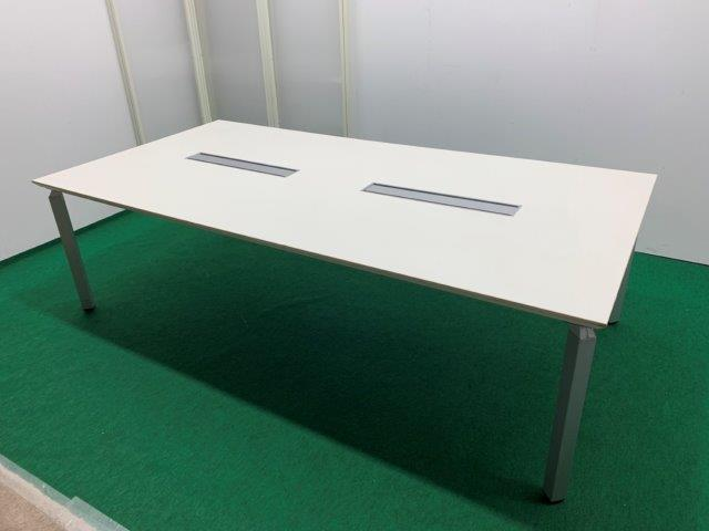 ナイキ製 ミーティングテーブル(ウェイクシリーズ/WKT-2412KH) ホワイト W2400 配線ボックス付