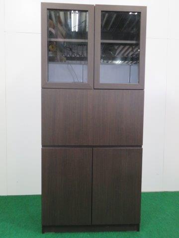 小島工芸製 木製食器棚/ライティングデスク ダークブラウン H1800