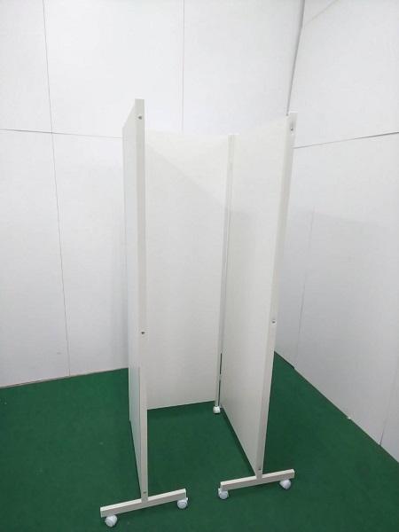 H1800 キャスター付き 3連パーテーション ホワイト