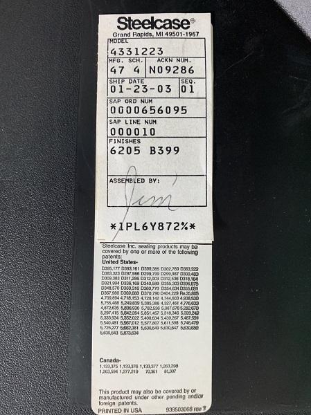 H850〜990 Steelcase製プロテジェチェア ブラック