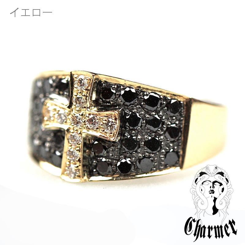 K18ブラックダイヤ クロスモチーフリング [6号〜18号]【Charmer(チャーマー)】R1002
