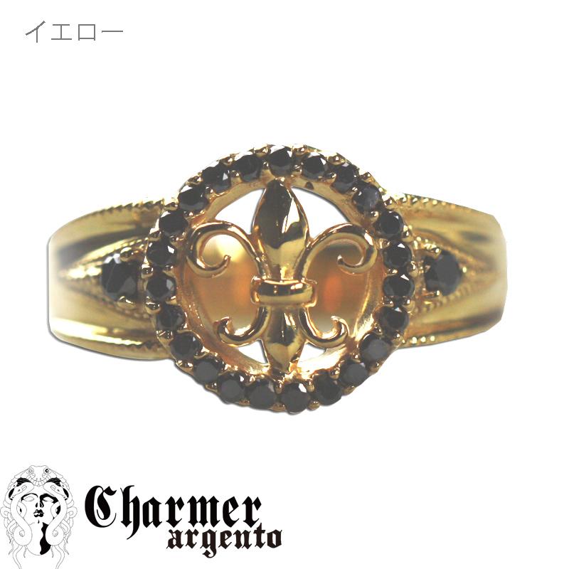 SVブラックダイヤ ユリリング[9号〜20号]【Charmer argento(チャーマー アルジェント)】R0017