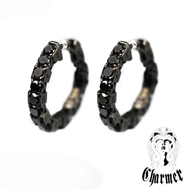 K18ブラックダイヤ フープピアス [2P/両耳用]【Charmer(チャーマー)】PI1009
