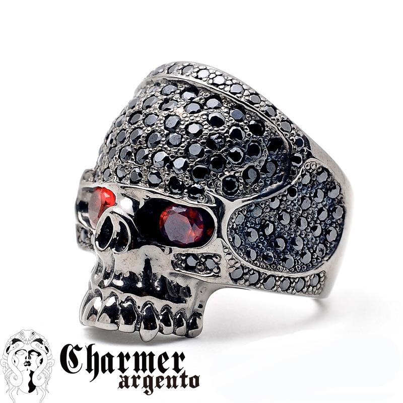 SVCZスカルリング[眼に石あり/10〜30号]【Charmer argento(チャーマー アルジェント)】R0019s