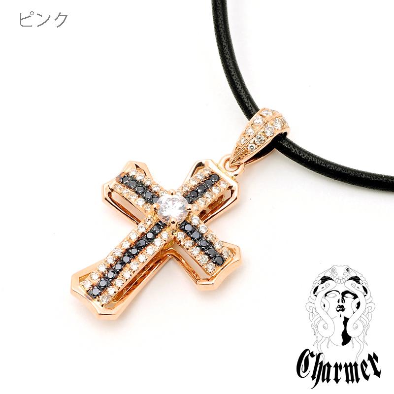 K18センターダイヤ チャーマークロス ペンダント[M]【Charmer(チャーマー)】PD0016