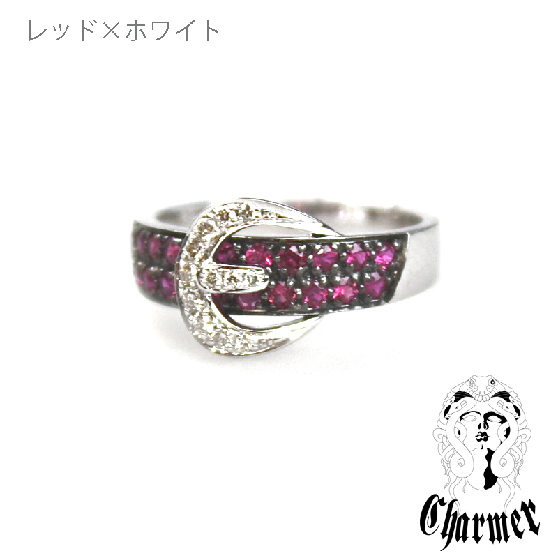 K18ブラックダイヤ ベルトモチーフリング [6号〜20号]【Charmer(チャーマー)】RG0099