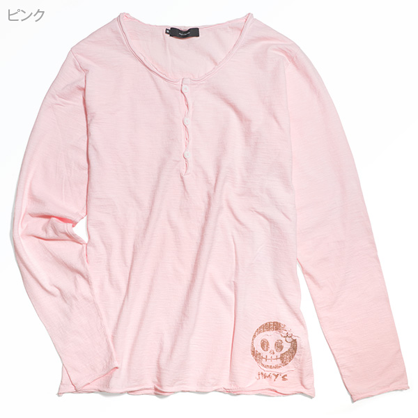 スラブヘンリーバックプリントTシャツ[長袖]【Jimy's Charmer(ジミーズチャーマー)】AJC-01069-1
