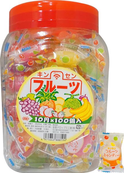 10円 キンセン フルーツキャンディ [1ポット 100個入]