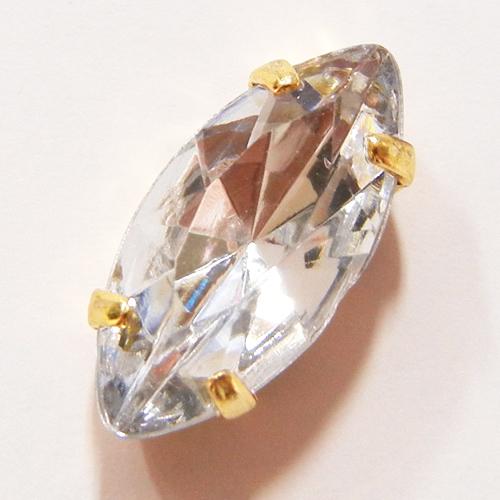 台座付アクリルダイヤパーツ(マーキス)/P4200/金色/クリスタル/5個・100個