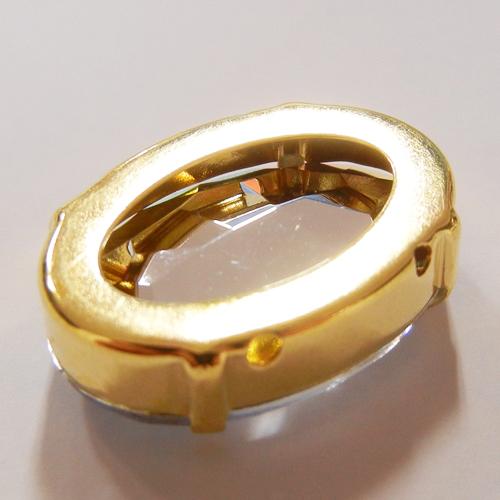 台座付アクリルダイヤパーツ(楕円)/P4100/金色/クリスタル/3個・100個