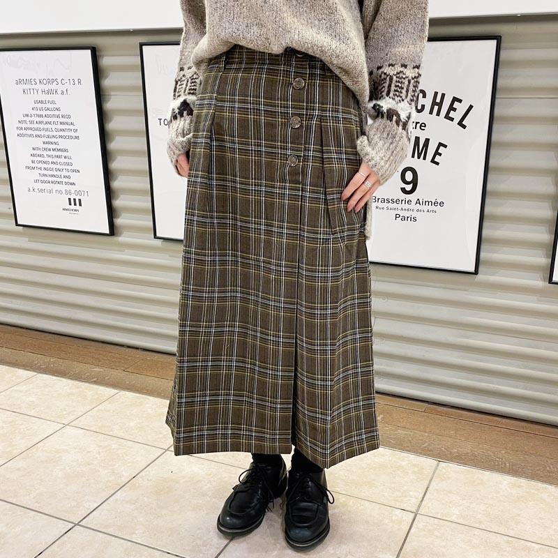先染チェック前釦ラップ風スカート
