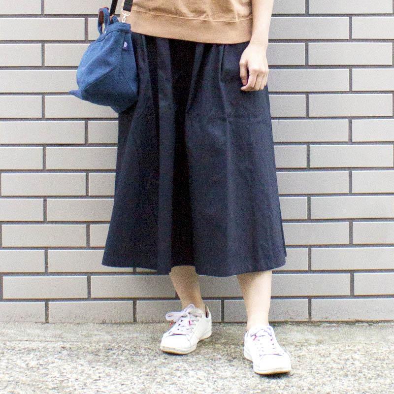 綿ツイル脇ファスナータックスカート