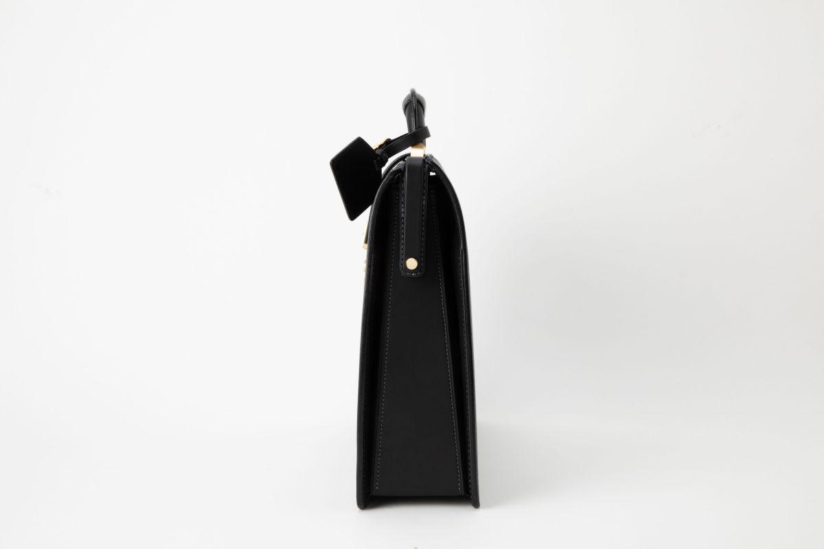 レザー バッグ 銀座タニザワ ロービキ ヌメスリム ダレス 小 (ブラック)