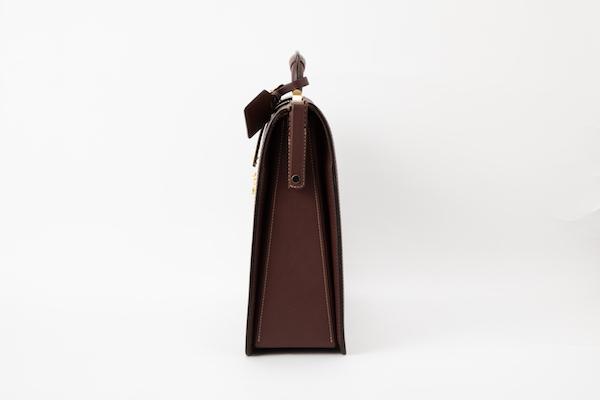 レザー バッグ 銀座タニザワ ロー引き ヌメスリム ダレス バッグ 大(ワイン)