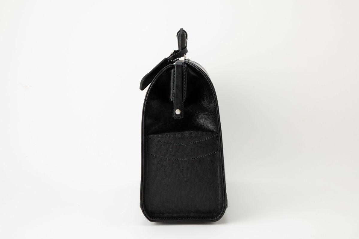 レザー バッグ 銀座タニザワ 角シボ BOX型 ダレス バッグ 大 (ブラック)