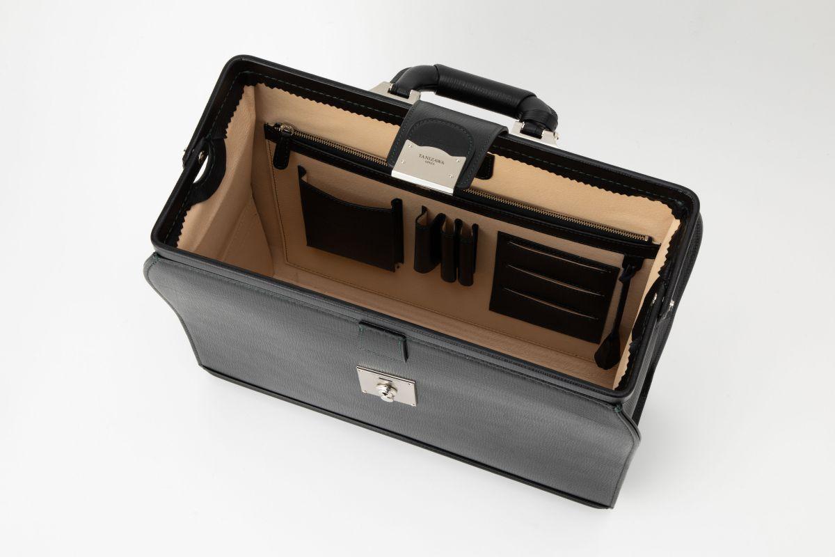 レザー バッグ 銀座タニザワ 角シボ BOX型 ダレス バッグ 小
