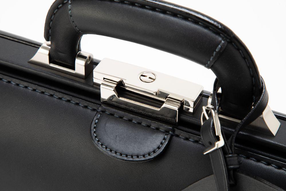 レザー バッグ 銀座タニザワ ダレスバッグ ロー引き口枠錠 小 (ブラック)