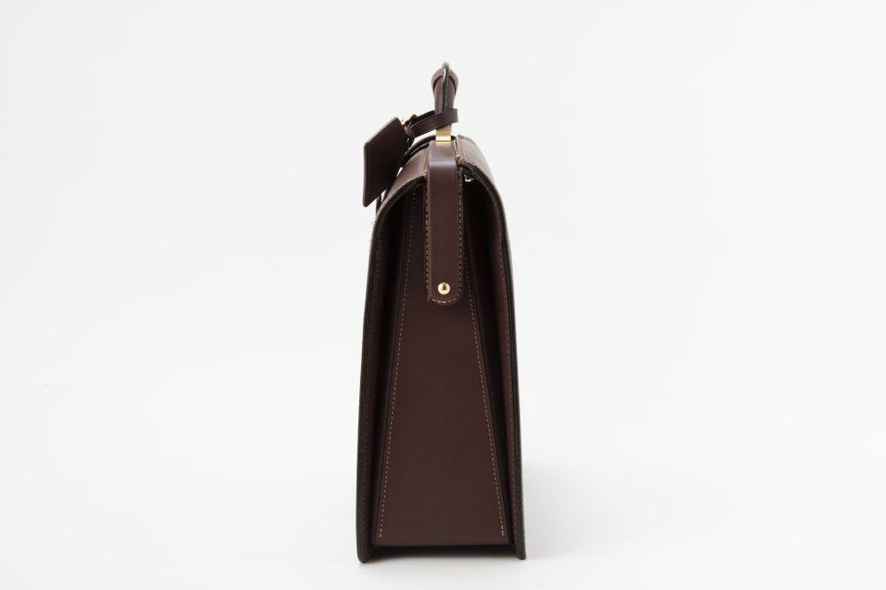 レザー バッグ 銀座タニザワ ダレスバッグ ロー引き ヌメ 山型 スリム  (ワイン)