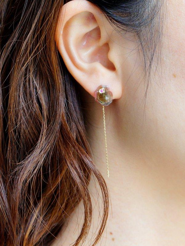monaka jewellery バイカラートルマリンピアスA 片耳用