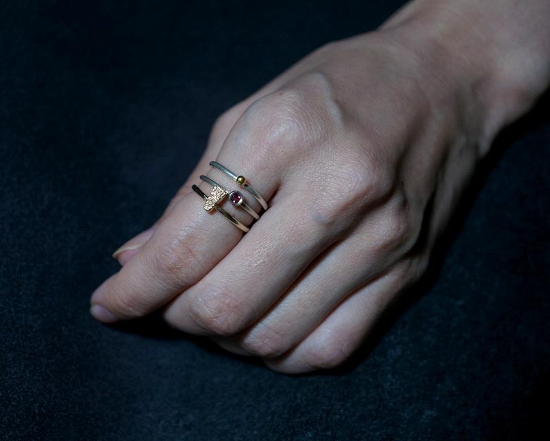 Kuraishi Takamichi /archive 「重ねる指環/3連」11号 トルマリン×シルバー