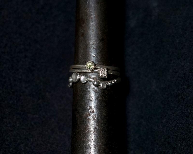 Kuraishi Takamichi /archive 「重ねる指環/3連」11号 サファイア×シルバー