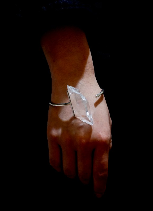 in her  Crystal point bangle