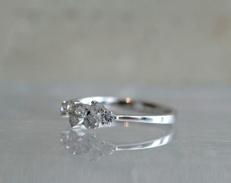 K18WG Diamond ring / 9号
