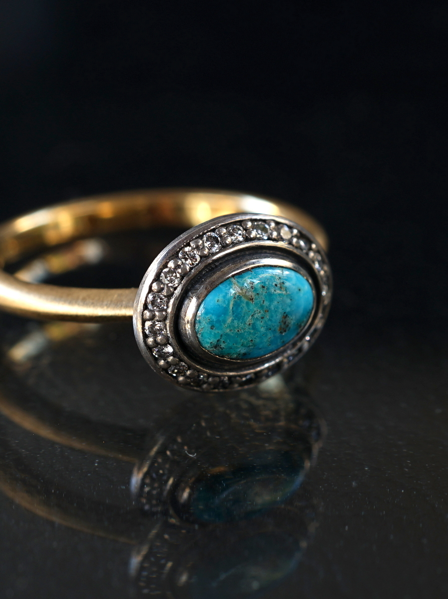 YES / SHADOW CLUSTER TURQUOISE RING_OV