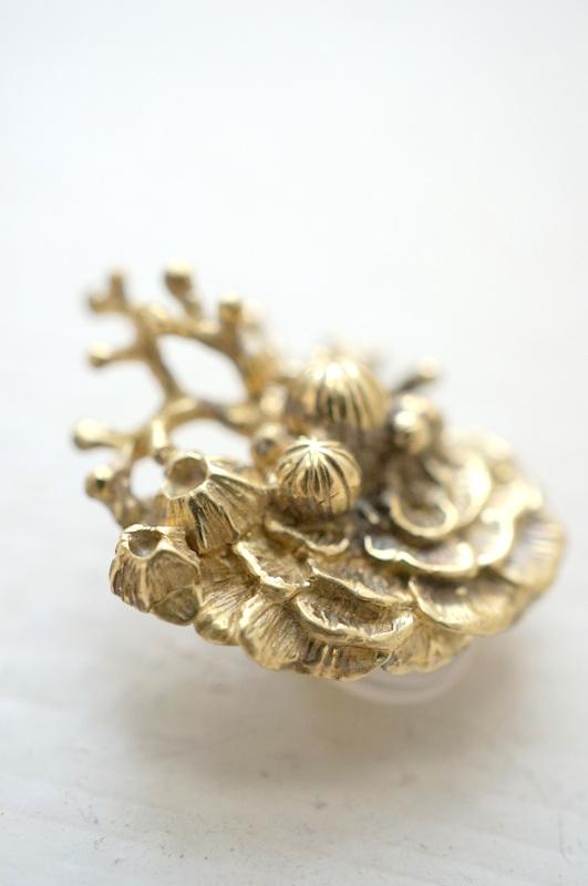 cocoon コーラルリーフイヤリング 真鍮