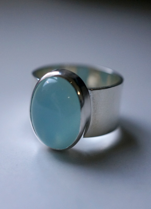 in her Blue chalcedony stone ring