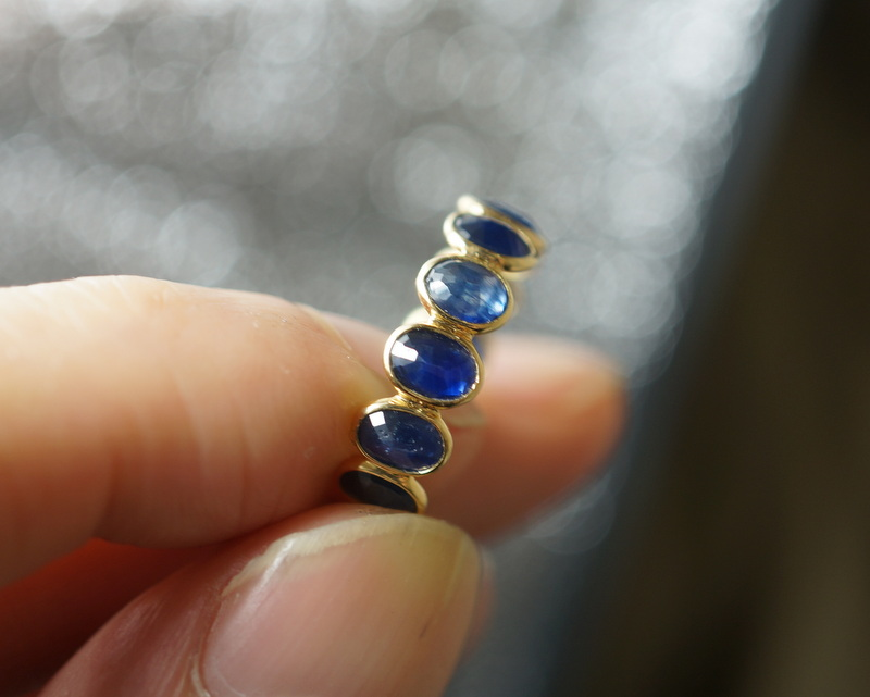 K18 blue sapphire eternity ring/12号
