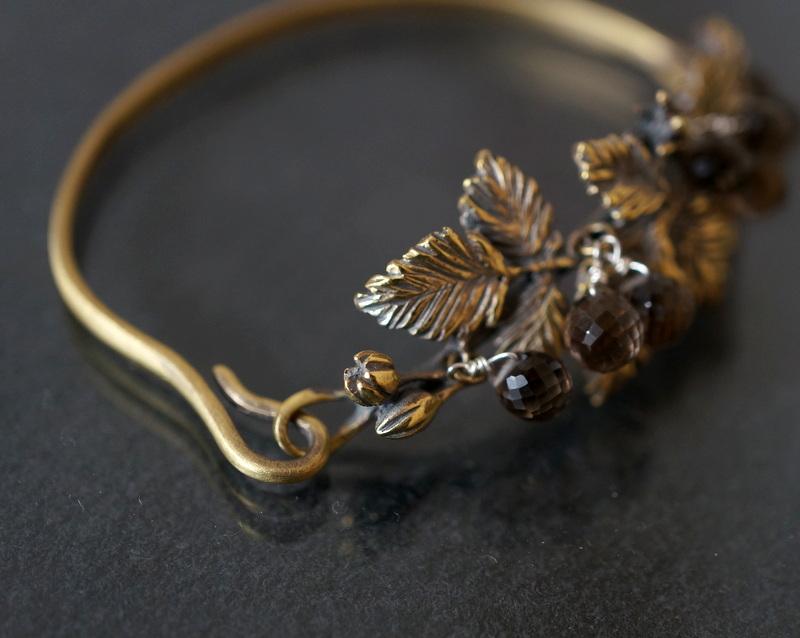 cocoon /  木苺バングル 真鍮×スモーキークォーツ