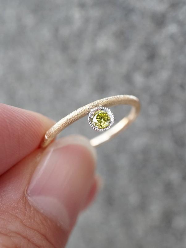 Avaron YOHEI YAMAMURA 【期間限定掲載品】ー Silk Thread ring Green Dia K18YG #11