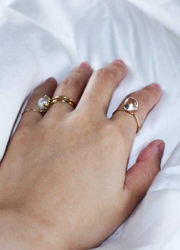in her  K10 gold drops  ring