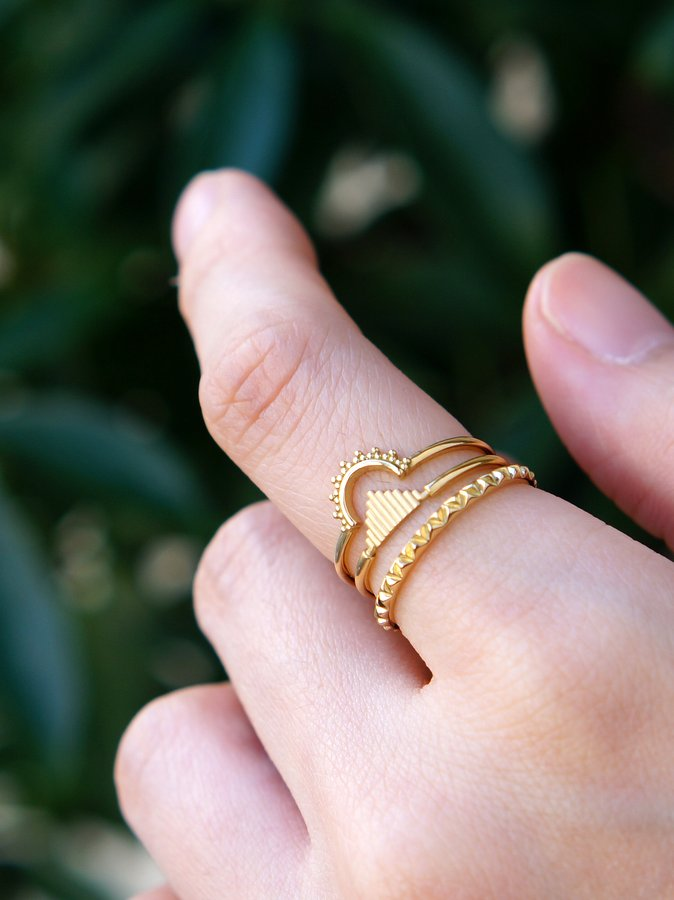 HAVITAS Fire wood ring  triangle K18YG