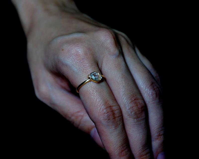 K18 pair-shaped rosecut diamond melee ring/13号
