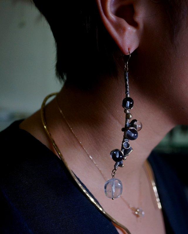 yuka ishikawa  memory branch pierced earrings L  clear (片耳用)